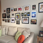 Living Room Gallery Wall + Orange DIY lamp