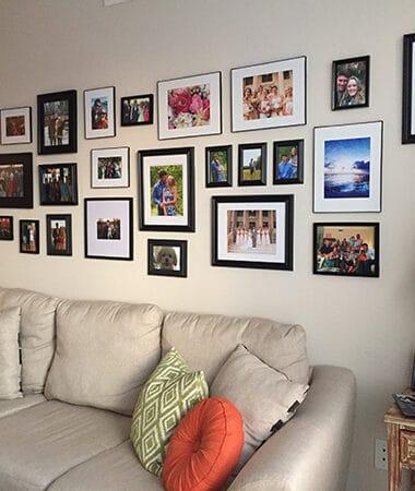 Living Room Gallery Wall + Orange DIY lamp