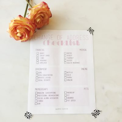 Change of Address Checklist // Free Printable