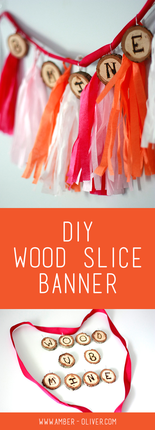 DIY Wood Slice Banner by Amber Oliver