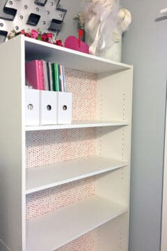DIY Fabric backed bookshelf