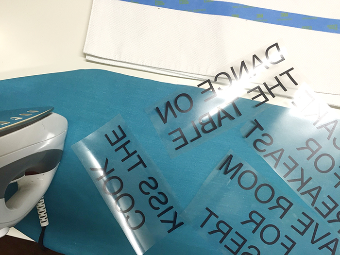 making DIY kate spade placemats