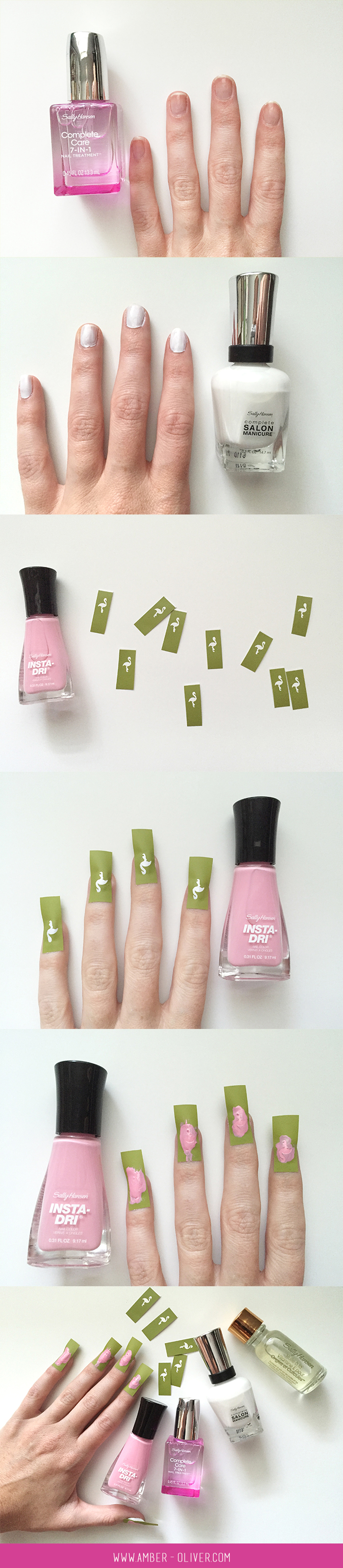 DIY pink flamingo nail art how to