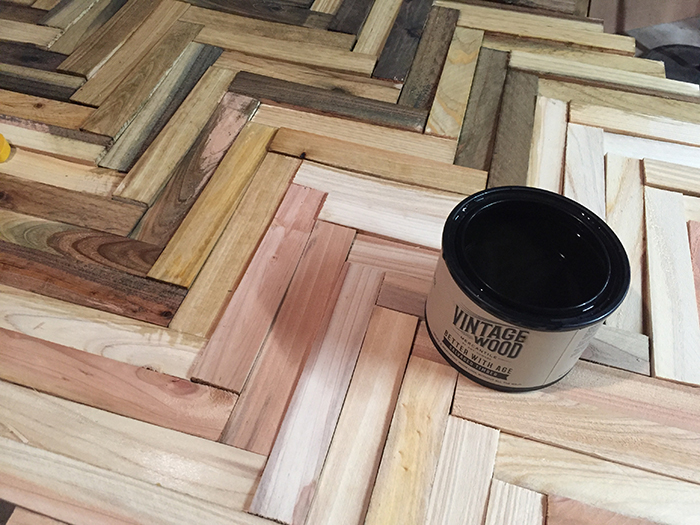 Easy DIY Wall art using wood shims. Made even easier with Amy Howard Better With Age Vintage Wood Mercantile Salvaged Timber