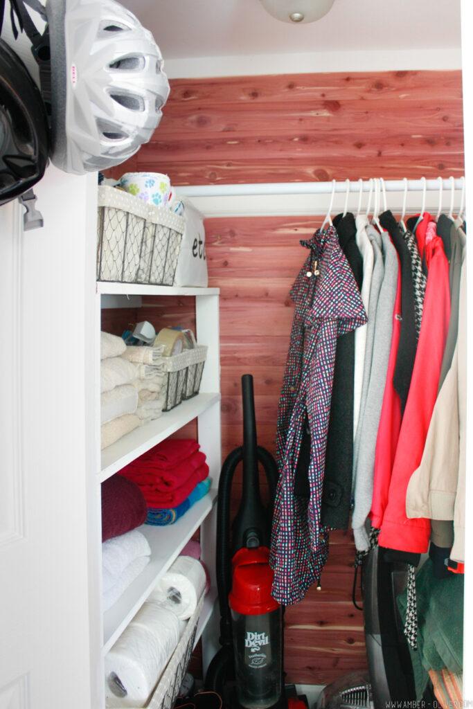 full shot of beautiful cedar closet lining