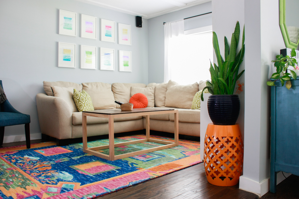 beautiful full room shot of a colorful living room by Amber Oliver