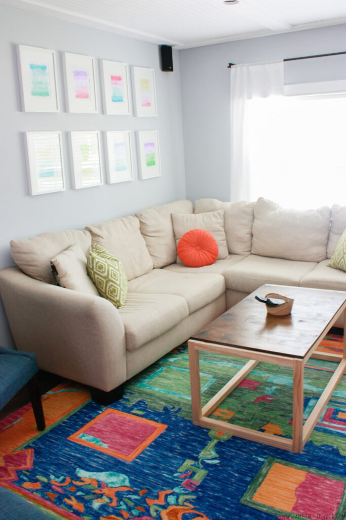 small sectional in colorful living room