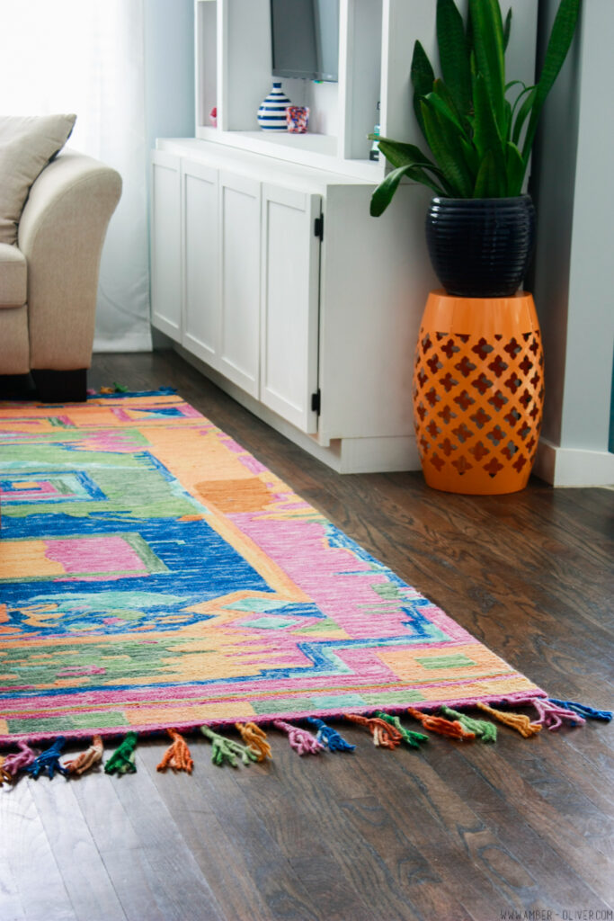 vibrant colorful rug in Amber Oliver's living room