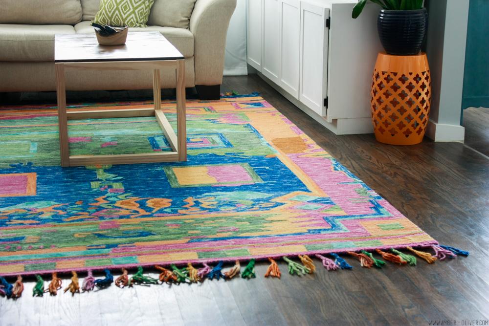 Amber oliver's colorful living room rug
