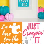 Bright color painted pumpkins and free punny halloween printables!