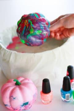 How to make nail polish pumpkins!
