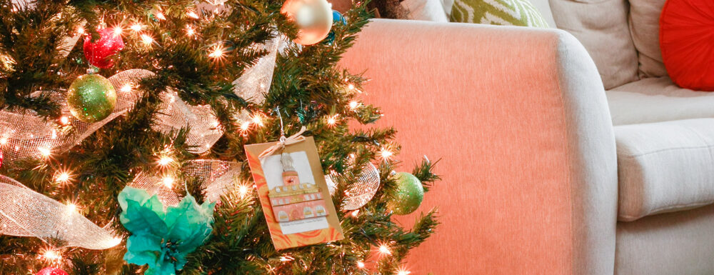 A colorful Christmas tree! Decorate with non-traditional Christmas colors.