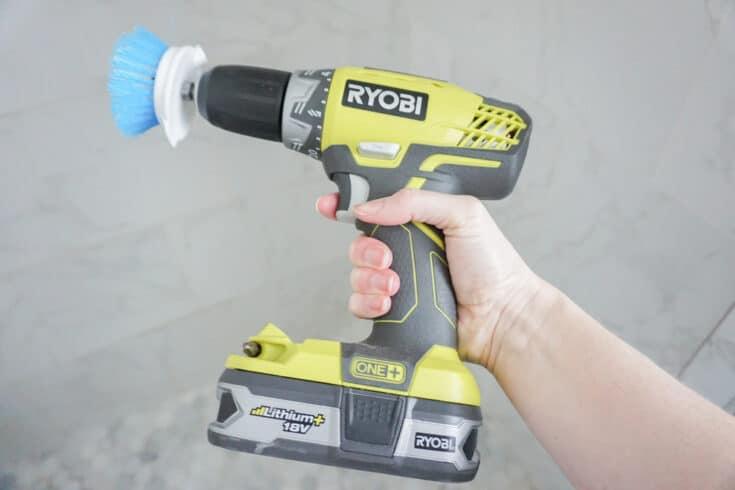 scrub brush on drill