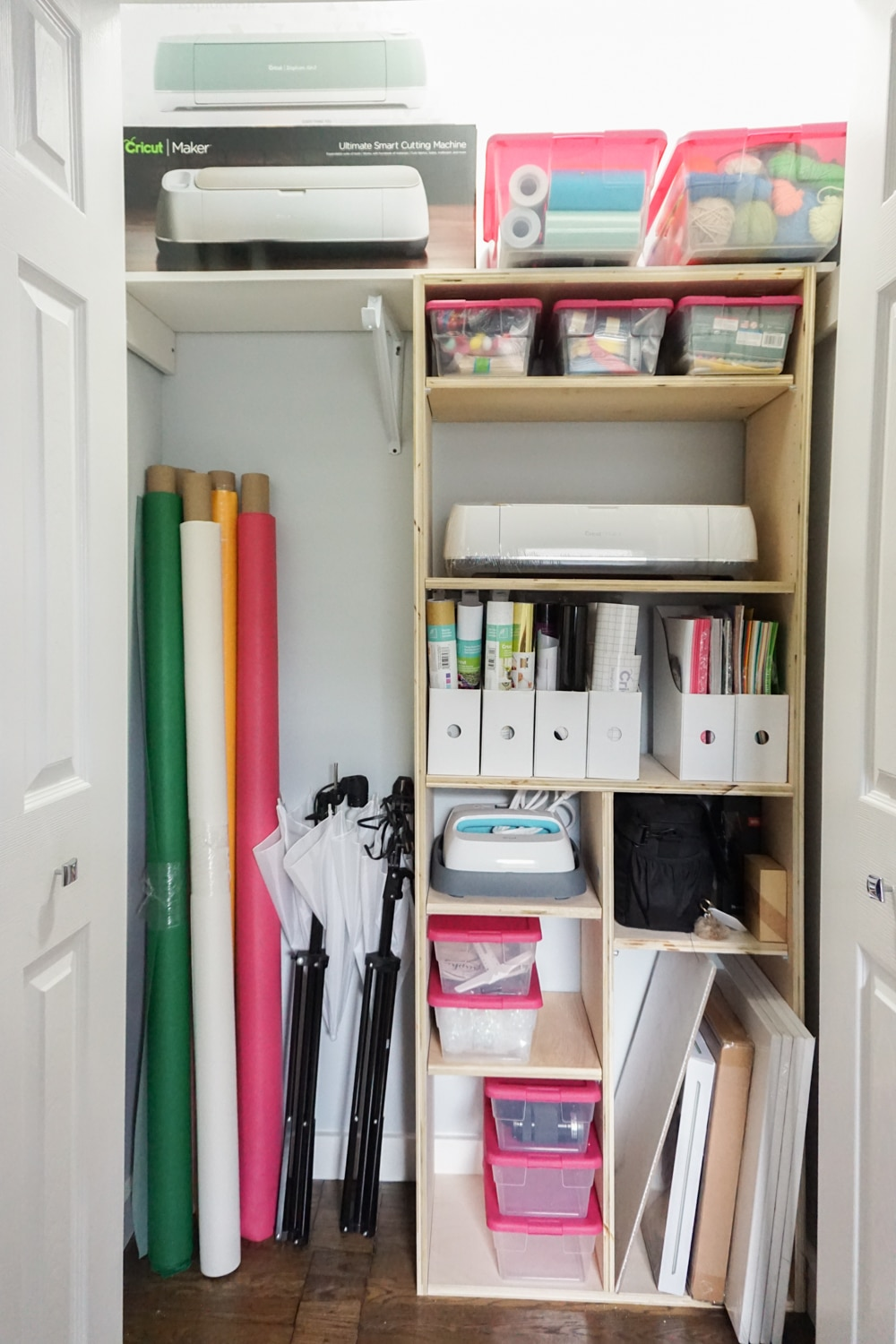 Full view of DIY closet shelves - perfect craft closet organization idea!