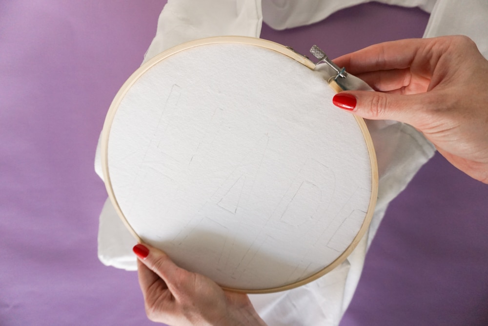 close up of the embroidery hoop for Yarn Embroidery: How to Embroider Letters (A HAPPY DIY Tote Bag)