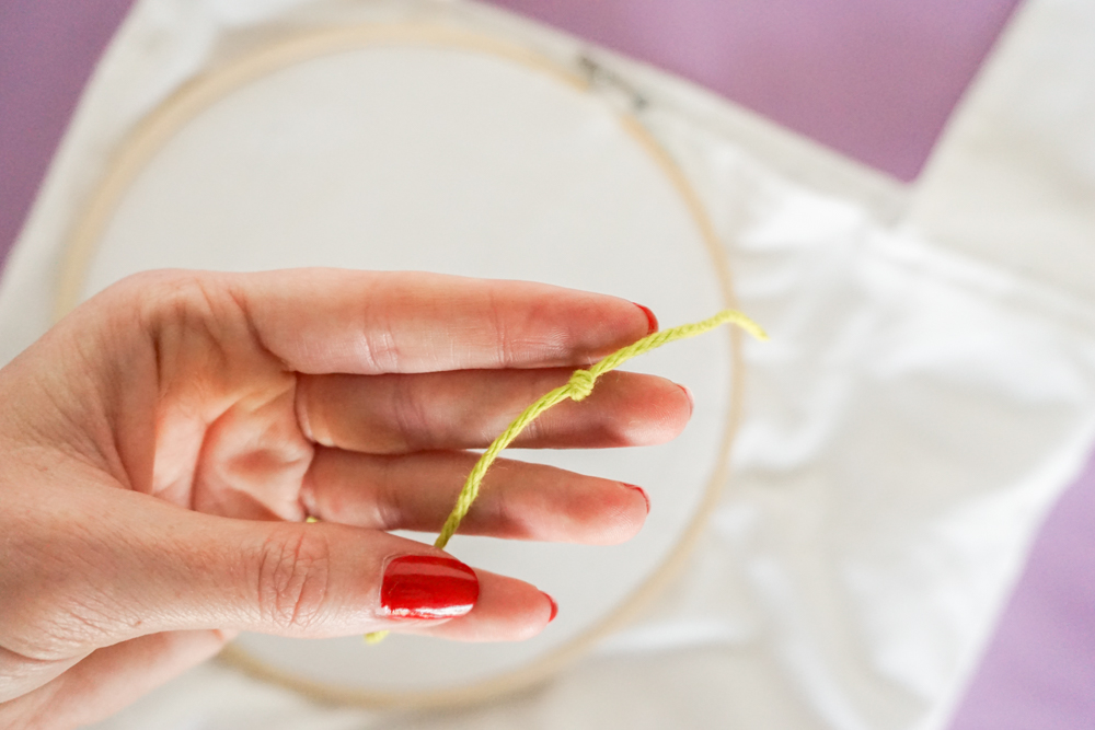 knotting the thread for Yarn Embroidery: How to Embroider Letters (A HAPPY DIY Tote Bag)