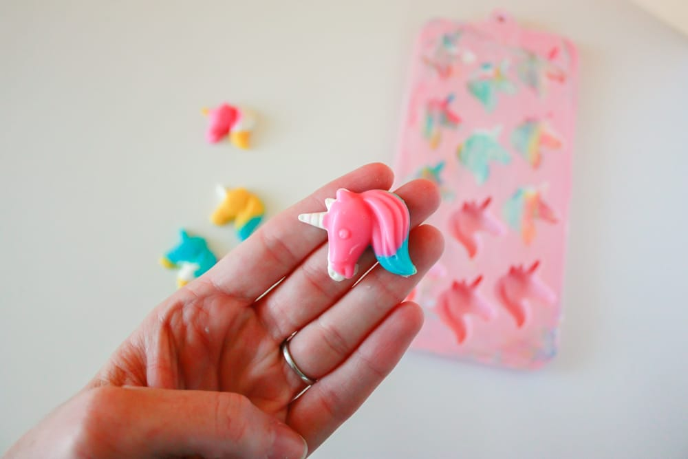 Unicorn candy from the mold