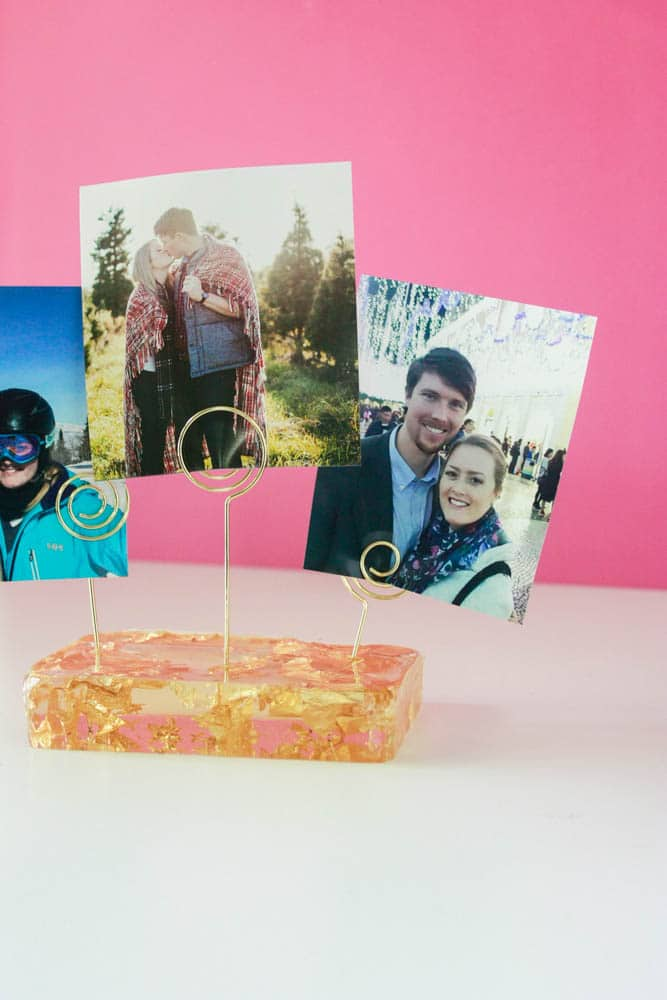 Close up shot of a DIY resin photo stand