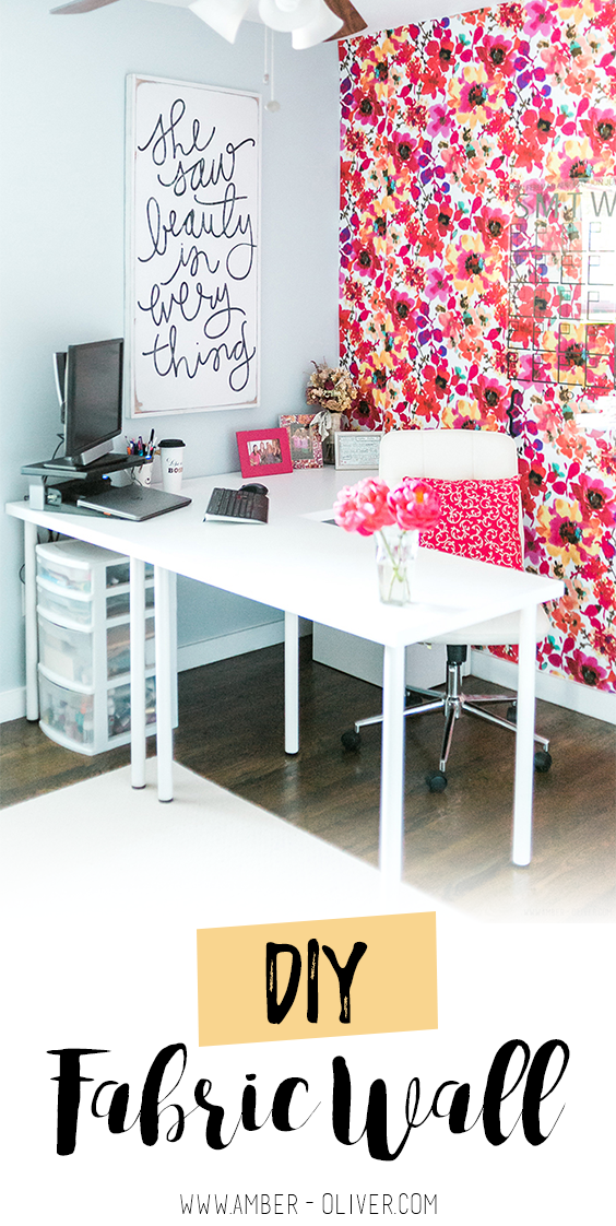 How to put up a fabric wall - an inexpensive and easy wallpaper alternative! #diy #office #wallpaper