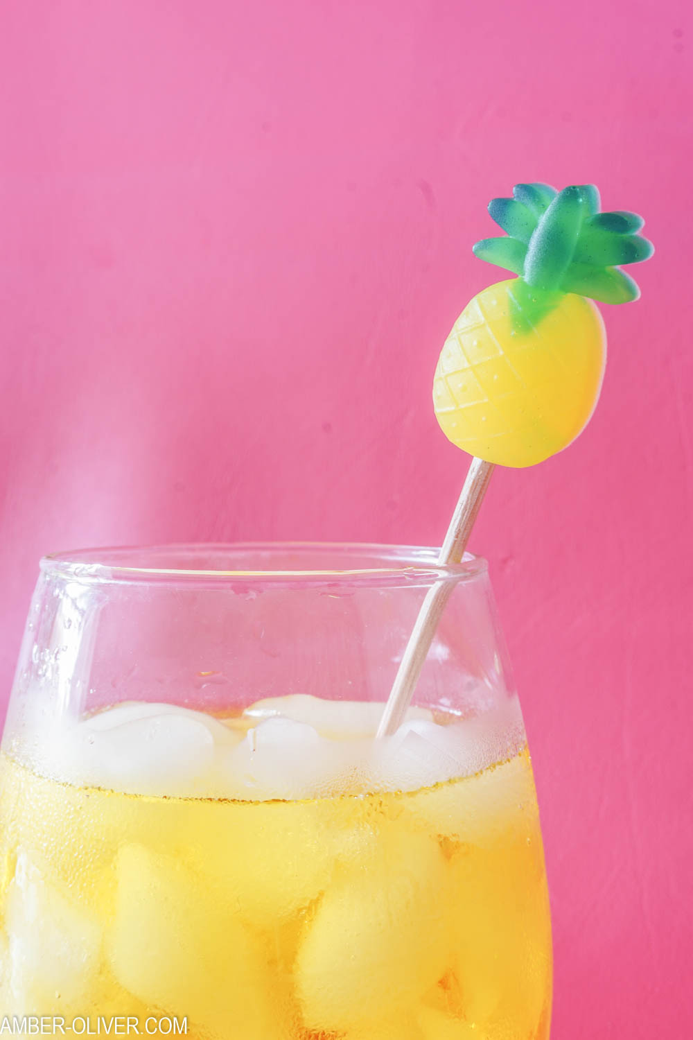 Close up of pineapple DIY drink stirrer
