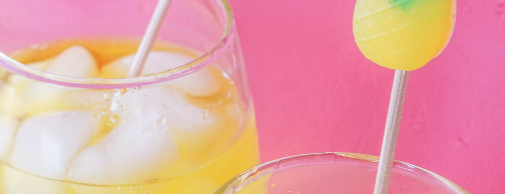 Close up shot of pineapple DIY drink stirrer
