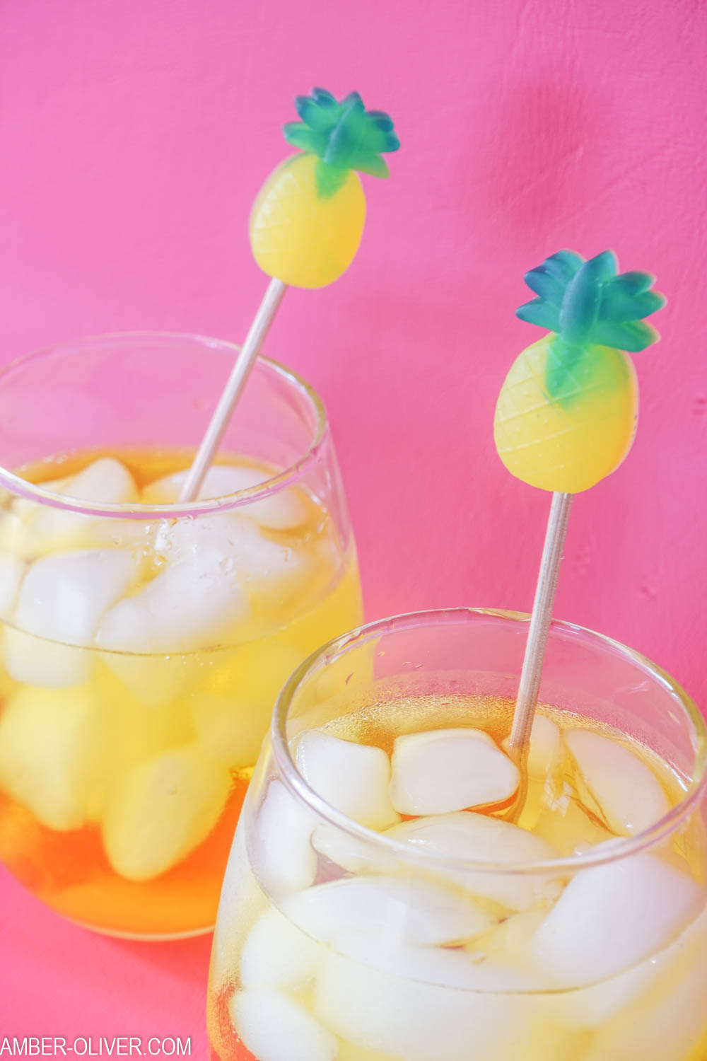 Close up shot of pineapple DIY drink stirrer