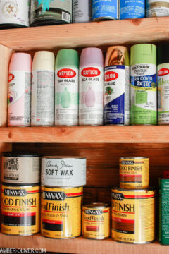 spray paint cans and wood stain