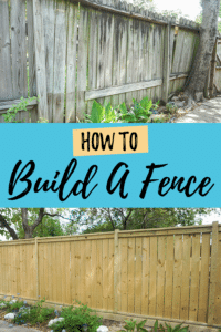 before and after DIY wood fence pinterest image