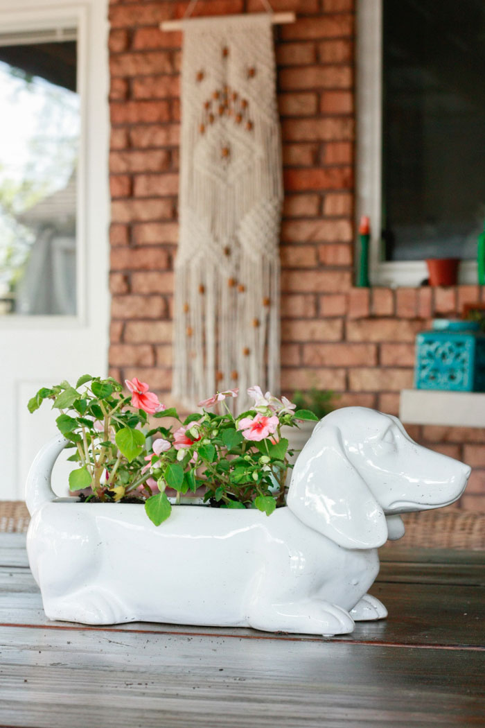 dog planter on table - patio decorating ideas with decor from At Home Stores