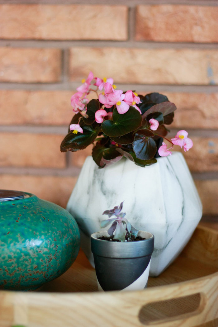 begonias in a marble pot- patio decorating ideas with decor from At Home Stores