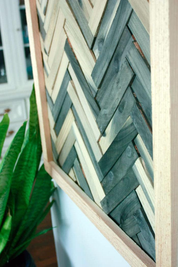 Close up of Wood Shim Wall Art Closeup of Wood Shim Wall Art DIY shim wall art - DIY wall art using wood shims - DIY wood shims wall art - Wall art using wood shims. DIY wall art ideas that are cheap and easy!