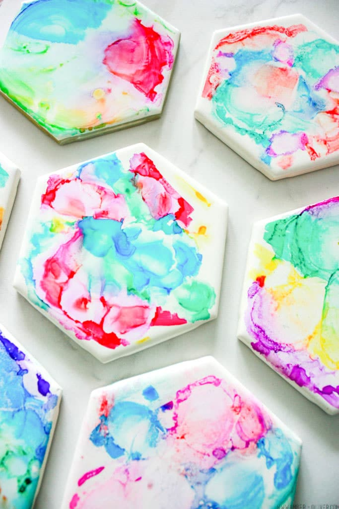 Colorful and easy to make sharpie and alcohol coasters!