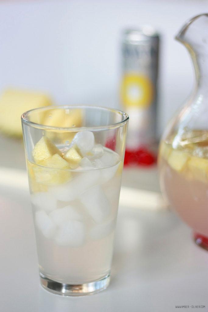 Pineapple Cherry Lemonade with fresh fruit before adding cherry