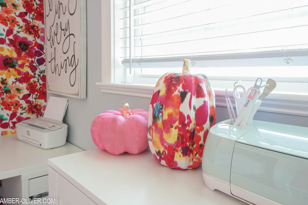 fabric pumpkins in a colorful office