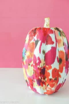 full shot of fabric covered pumpkin