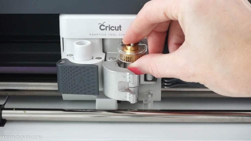 loading Cricut Maker with Scoring Blade