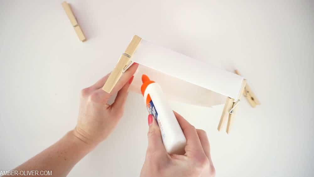 folding corners to create DIY card box