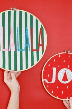 Colorful Fabric Holiday Hoops (Embroidery Hoop Crafts)