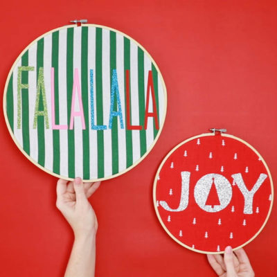 Embroidery Hoop Crafts: Fabric Holiday Hoops