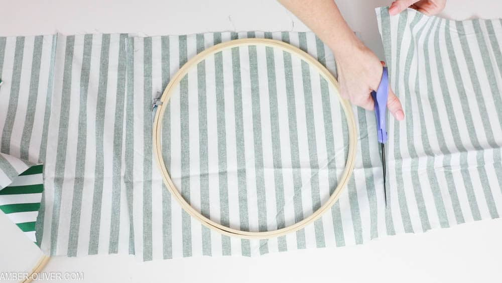 Cutting down fabric for Fabric Holiday Hoops (Embroidery Hoop Crafts)