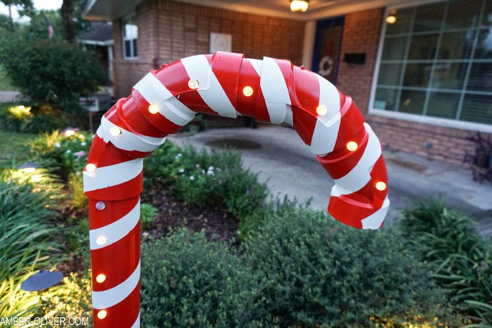 close up shot of DIY Lighted PVC Candy Cane
