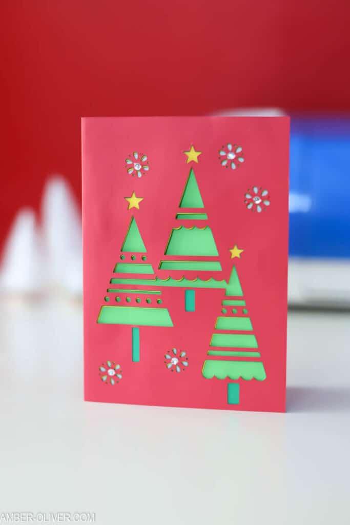 A beautiful red, handmade Christmas card