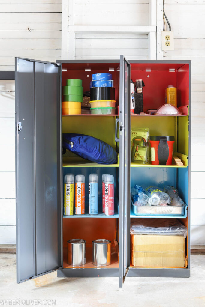 Garage Organization Ideas How To Store Paint Supplies - brightly painted!