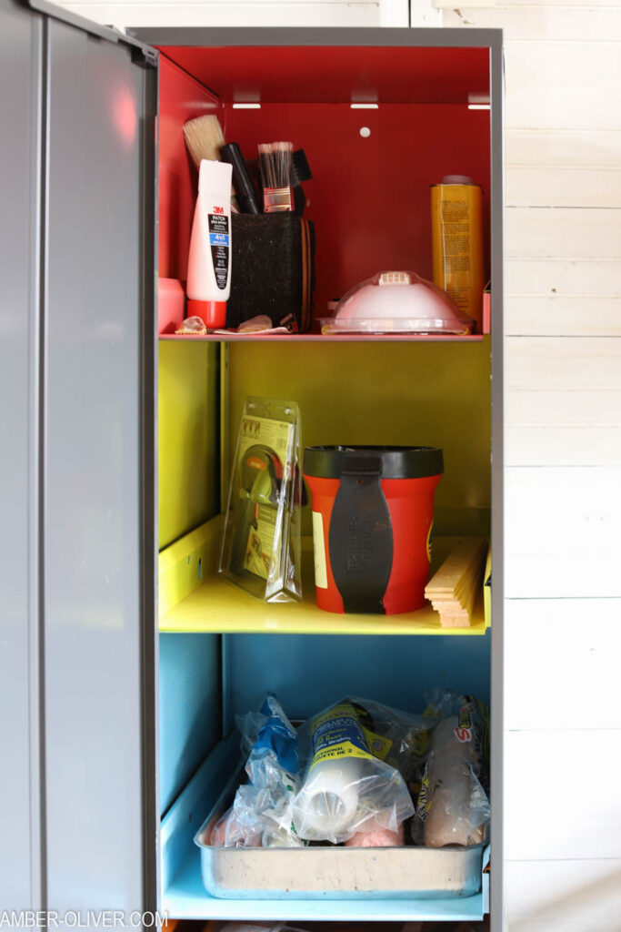brightly painted Office Dimensions Personal Storage Cabinets by Hirsh Industries