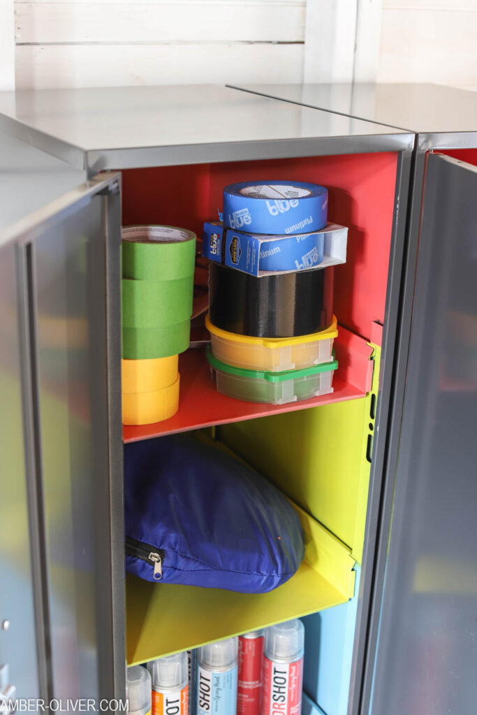 close shot of brightly painted Office Dimensions Personal Storage Cabinets by Hirsh Industries