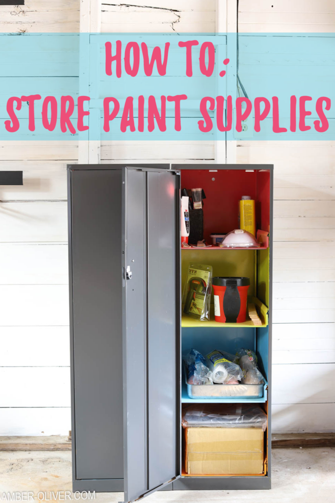 colorful storage cabinet used to store paint supplies