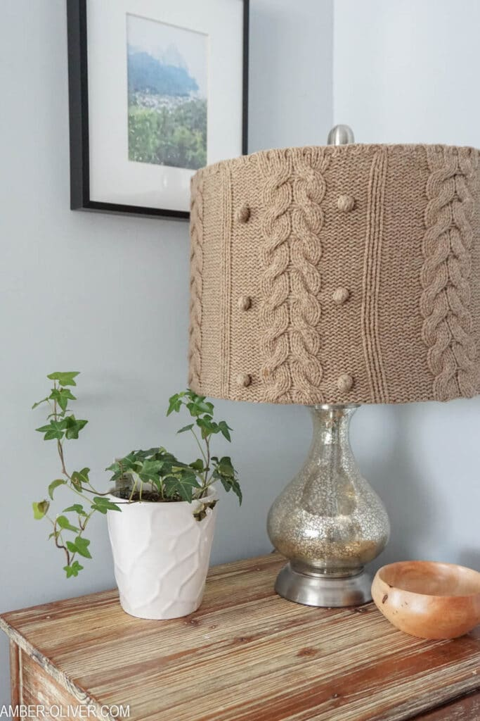 how to make a diy lampshade with an upcycled sweater