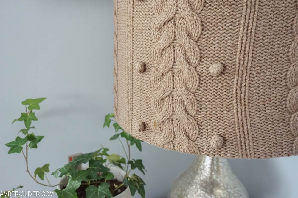 close up of diy lampshade made with upcycled sweater