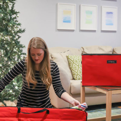 How To Organize Christmas Decorations: get your wrapping paper together for easy storage