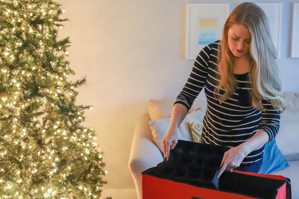 How To Organize Christmas Decorations: large bin from At Home to organize Christmas ornaments